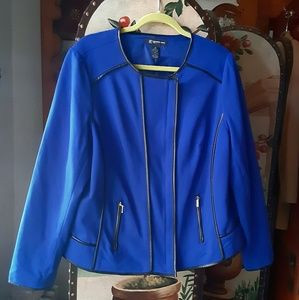 INC Royal Blue Faux Leather Trim Moto Jacket
